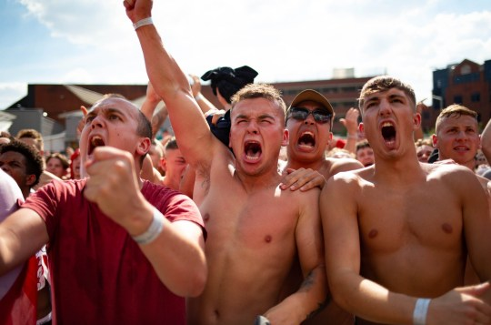 Mandatory Credit: Photo by Terry Harris/REX/Shutterstock (9744842v) England fans celebrate World Cup quarter final win over Sweden England fans celebrate World Cup quarter final win, XL Arenea, Peterborough, UK - 07 Jul 2018