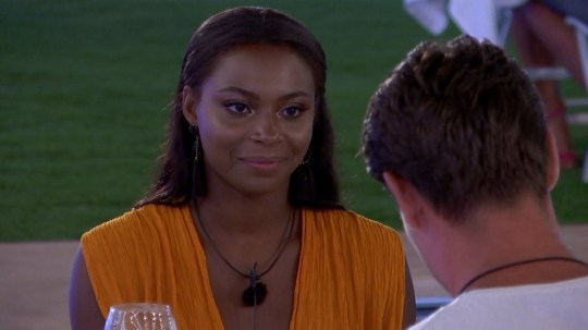 From ITV Studios Love Island: SR4: Ep35 on ITV2 Pictured: Samira and Frankie at dinner. This photograph is (C) ITV Plc and can only be reproduced for editorial purposes directly in connection with the programme or event mentioned above, or ITV plc. Once made available by ITV plc Picture Desk, this photograph can be reproduced once only up until the transmission [TX] date and no reproduction fee will be charged. Any subsequent usage may incur a fee. This photograph must not be manipulated [excluding basic cropping] in a manner which alters the visual appearance of the person photographed deemed detrimental or inappropriate by ITV plc Picture Desk. This photograph must not be syndicated to any other company, publication or website, or permanently archived, without the express written permission of ITV Plc Picture Desk. Full Terms and conditions are available on the website www.itvpictures.co.uk For further information please contact: james.hilder@itv.com / 0207 157 3052