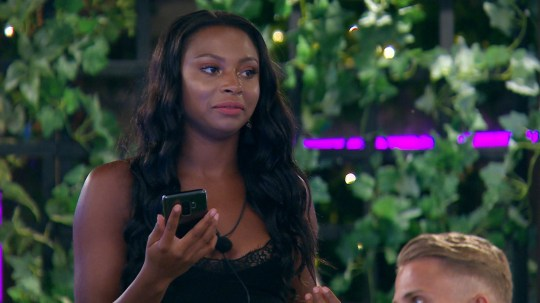 From ITV Studios Love Island: SR4: Ep36 on ITV2 Pictured: Samira gets a text announcing the dumping. This photograph is (C) ITV Plc and can only be reproduced for editorial purposes directly in connection with the programme or event mentioned above, or ITV plc. Once made available by ITV plc Picture Desk, this photograph can be reproduced once only up until the transmission [TX] date and no reproduction fee will be charged. Any subsequent usage may incur a fee. This photograph must not be manipulated [excluding basic cropping] in a manner which alters the visual appearance of the person photographed deemed detrimental or inappropriate by ITV plc Picture Desk. This photograph must not be syndicated to any other company, publication or website, or permanently archived, without the express written permission of ITV Plc Picture Desk. Full Terms and conditions are available on the website www.itvpictures.co.uk For further information please contact: james.hilder@itv.com / 0207 157 3052