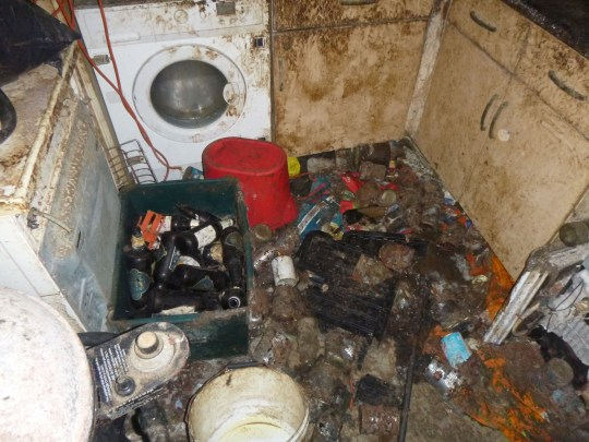 These shocking pictures show the filthy squalid conditions in a flat in Exeter, Devon, that led to Stephen Sturman being banned from keeping cats for a decade. See SWNS story SWFILTH; Stephen Sturman, 55, admitted two animal welfare offences when he appeared before magistrates after his house was found full of piles of rubbish and compacted faeces. The body of a dead cat was discovered alongside two surviving cats who were both emaciated. They are now receiving care from the RSPCA. RSPCA inspector Jim Farr said they launched an investigation after firefighters alerted them to the 'appalling' conditions and animal suffering at Sturman?s home in Exeter, Devon. This was discovered when they forced entry when a fire broke out at a neighbouring property.