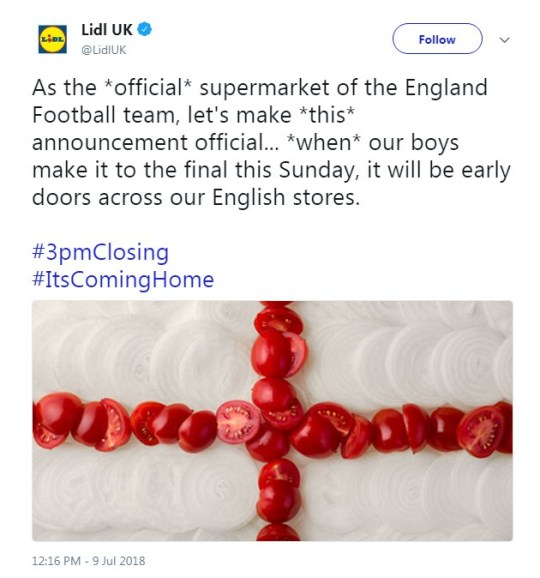Aldi and Lidl believe football's coming home and will close