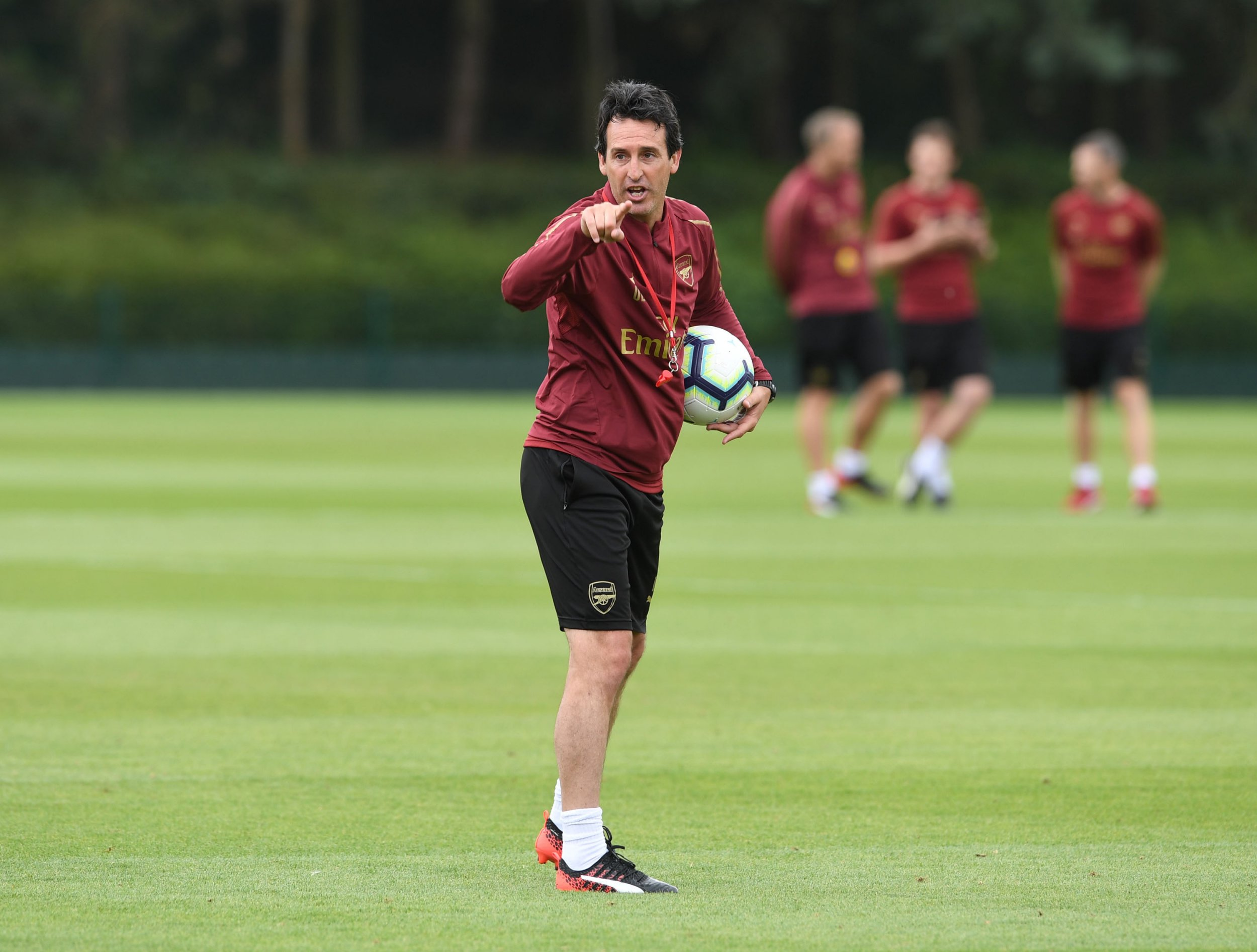 ST ALBANS, ENGLAND - JULY 10: Arsenal Head Coach Unai Emery during a training session at London Colney on July 10, 2018 in St Albans, England. (Photo by Stuart MacFarlane/Arsenal FC via Getty Images)