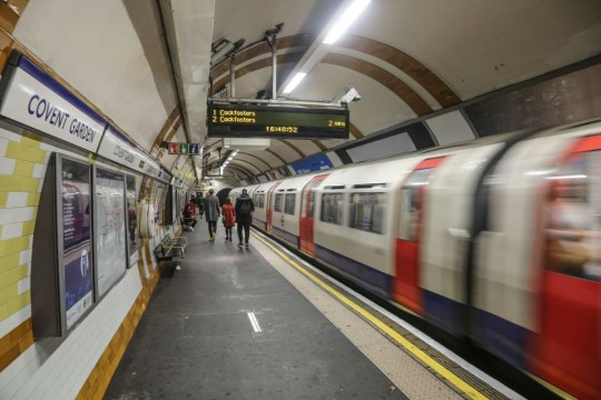 Covent Garden tube station or Underground in West End of London. The station is a stop between Leicester Square and Holborn stations in Zone 1 and serves the Piccadilly line. The station opened in 11 April 1907. (Photo by Nicolas Economou/NurPhoto via Getty Images)