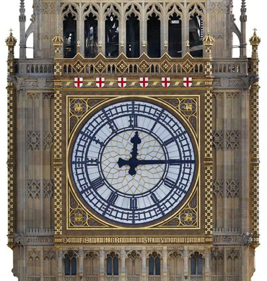Undated handout artist's impression issued by the UK Parliament of a proposed colour scheme for Big Ben, as parliamentary authorities have revealed that it is to return to its original Victorian colour scheme which includes the St George Cross and blue numbers on the clock face. PRESS ASSOCIATION Photo. Issue date: Wednesday July 11, 2018. It is believed that the current colour scheme was adopted in the early 20th century after the Victorian building, designed by Charles Barry, had been blackened by decades of heavy air pollution in London. See PA story POLITICS BigBen. Photo credit should read: UK Parliament/PA Wire NOTE TO EDITORS: This handout photo may only be used in for editorial reporting purposes for the contemporaneous illustration of events, things or the people in the image or facts mentioned in the caption. Reuse of the picture may require further permission from the copyright holder.