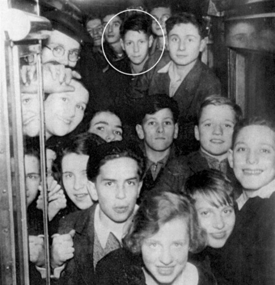 Now in their 90s, a group of former Jewish school children gather to remember their escape from Hitler. Picture: children on their way to the school on a Kent train. Circled is former pupil Professor Lesley Brent who made major immune system discovery at London University Credit: Metro News and Features Agency