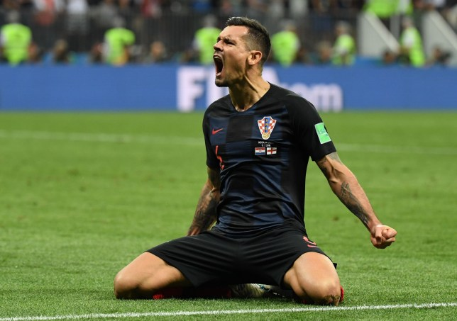 TOPSHOT - Croatia's defender Dejan Lovren celebrates at the end of the Russia 2018 World Cup semi-final football match between Croatia and England at the Luzhniki Stadium in Moscow on July 11, 2018. / AFP PHOTO / YURI CORTEZ / RESTRICTED TO EDITORIAL USE - NO MOBILE PUSH ALERTS/DOWNLOADS YURI CORTEZ/AFP/Getty Images