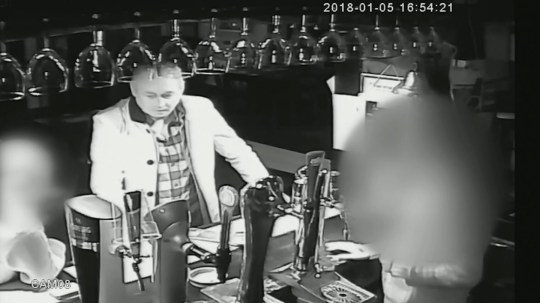 A boyfriend was caught on CCTV drinking pints in the pub after he brutally stabbed his girlfriend to death (PICTURED HERE IS JOHN LEWIS IN CCTV STILL HAVING A PINT AFTER KILLING TERRIE-ANN JONES). John Lewis, 55, was jailed for life after he stabbed girlfriend Terrie-Ann Jones 26 times and left her in a pool of blood. Footage shows the killer laughing and joking in his local pub just hours after launching the horror attack. ? WALES NEWS SERVICE