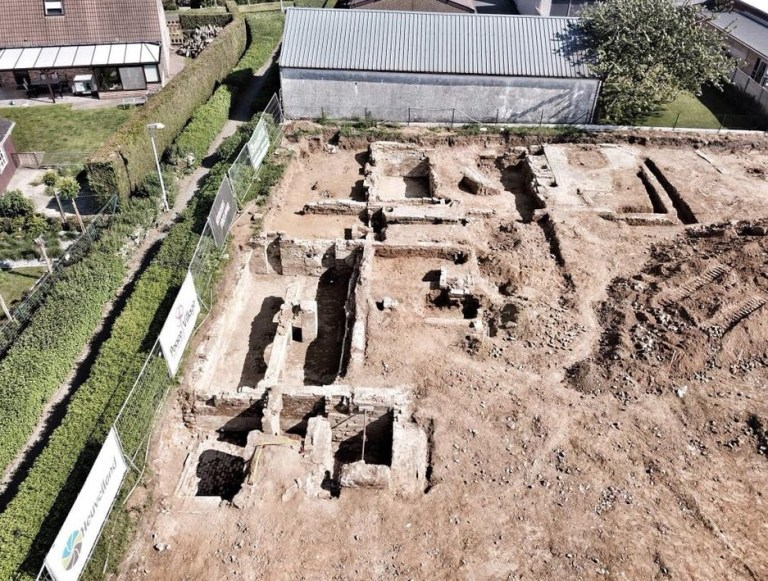 BNPS.co.uk (01202 558833)?Pic: DigHill80/BNPS ***Online Embargo 13/7/18** Aerial of the research area. Some 125 First World War soldiers have been discovered entombed in an perfectly preserved German trench system 101 years after they were killed.??Most of the men, who are German, British, French and South African, were found where they fell during some of the most ferocious fighting of the war.??Other skeletal remains were located buried in a mass grave alongside religious artefacts placed there by their comrades. ??The 'hell on earth' discovery was made by archaeologists ahead of a housing development on a small field in Flanders, Belgium.?