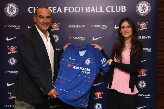 Chelsea Unveil New Head Coach Maurizio Sarri with Chelsea Director Marina Granovskaia at Stamford Bridge on July 14, 2018 in London, England. (Photo by Darren Walsh/Chelsea FC via Getty Images)