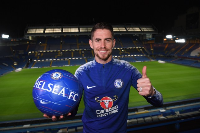 LONDON, ENGLAND - JULY 13: Chelsea Unveil New Signing Jorginho at Stamford Bridge on July 13, 2018 in London, England. (Photo by Darren Walsh/Chelsea FC via Getty Images)