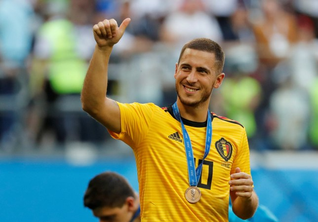 Soccer Football - World Cup - Third Place Play Off - Belgium v England - Saint Petersburg Stadium, Saint Petersburg, Russia - July 14, 2018 Belgium's Eden Hazard celebrates with a medal after the match REUTERS/Toru Hanai TPX IMAGES OF THE DAY