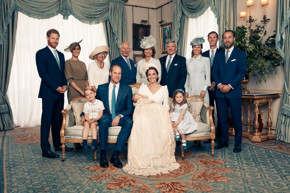 The Duke and Duchess of Cambridge have released this official photograph to mark the christening of Prince Louis on Monday 9th July. The photographs were taken by Matt Holyoak in the Morning Room at Clarence House, following Prince Louis' baptism in the Chapel Royal at St. James?s Palace. The photographs are being supplied to you on the condition you agree that: the photographs remain the copyright of Matt Holyoak/Camera Press; they must be credited to Matt Holyoak/Camera Press each time the image is used; only the low-res version with embedded copyright can be used online. No use after July 29. No sales and for news usage only in connection with Prince Louis? christening. No merchandising, print sales, commercial use, press calendars or souvenir issues permitted. Any magazine/supplement cover usage requires approval via Camera Press and Kensington Palace. No cropping, manipulating or altering the photograph in any way. No use and no archiving permitted after July 29th 2018. Seated (left to right): Prince George, the Duke of Cambridge, Prince Louis, the Duchess of Cambridge, Princess Charlotte. Standing (left to right): The Duke of Sussex, the Duchess of Sussex, the Duchess of Cornwall, the Prince of Wales, Mrs Carole Middleton, Mr Michael Middleton, Mrs Pippa Matthews, Mr James Matthews, Mr James Middleton. PRESS ASSOCIATION. Issue date: Sunday July 15, 2018. See PA story ROYAL Chistening. Mandatory credit must read: Matt Holyoak/Camera Press NOTE TO EDITORS: This handout photo may only be used in for editorial reporting purposes for the contemporaneous illustration of events, things or the people in the image or facts mentioned in the caption. Reuse of the picture may require further permission from the copyright holder.