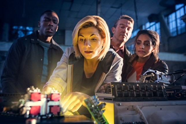 "For use in UK, Ireland or Benelux countries only Undated BBC handout photo of Jodie Whittaker as The Doctor (centre), Bradley Walsh as Graham (second right) and Mandip Gill as Yaz (first right). Whittaker has said it is a ""huge honour"" to be able to show children that their television heroes can look different, and to let girls know that they can play Doctor Who's leading character. PRESS ASSOCIATION Photo. Issue date: Tuesday July 17, 2018. The actress will take on the role of the Doctor in Doctor Who later this year, making history as the first woman to ever play the role. See PA story SHOWBIZ Who. Photo credit should read: Sophie Mutevelian/BBC/PA Wire NOTE TO EDITORS: Not for use more than 21 days after issue. You may use this picture without charge only for the purpose of publicising or reporting on current BBC programming, personnel or other BBC output or activity within 21 days of issue. Any use after that time MUST be cleared through BBC Picture Publicity. Please credit the image to the BBC and any named photographer or independent programme maker, as described in the caption."