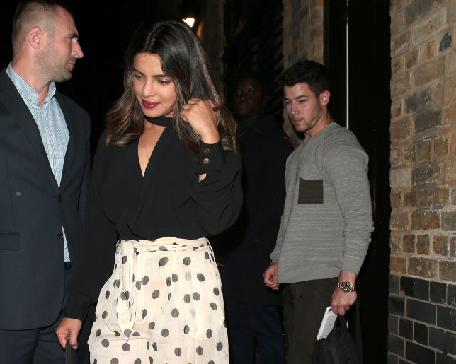 LONDON, ENGLAND - JULY 17: Priyanka Chopra and Nick Jonas seen on a night out leaving Chiltern Firehouse on July 17, 2018 in London, England. (Photo by Ricky Vigil M/GC Images)
