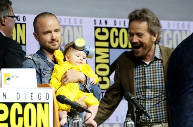 Mandatory Credit: Photo by Karl Walter/Variety/REX/Shutterstock (9766097e) Aaron Paul with daughter Story Annabelle Paul, Bryan Cranston 'Breaking Bad' TV show panel, Comic-Con International, San Diego, USA - 19 Jul 2018