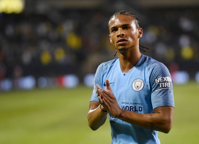 Manchester City midfielder Leroy Sane looks to the crowd at the end of a soccer match against Borussia Dortmund at an International Champions Cup tournament, Friday, July 20, 2018, at Soldier Field in Chicago. (AP Photo/Annie Rice)
