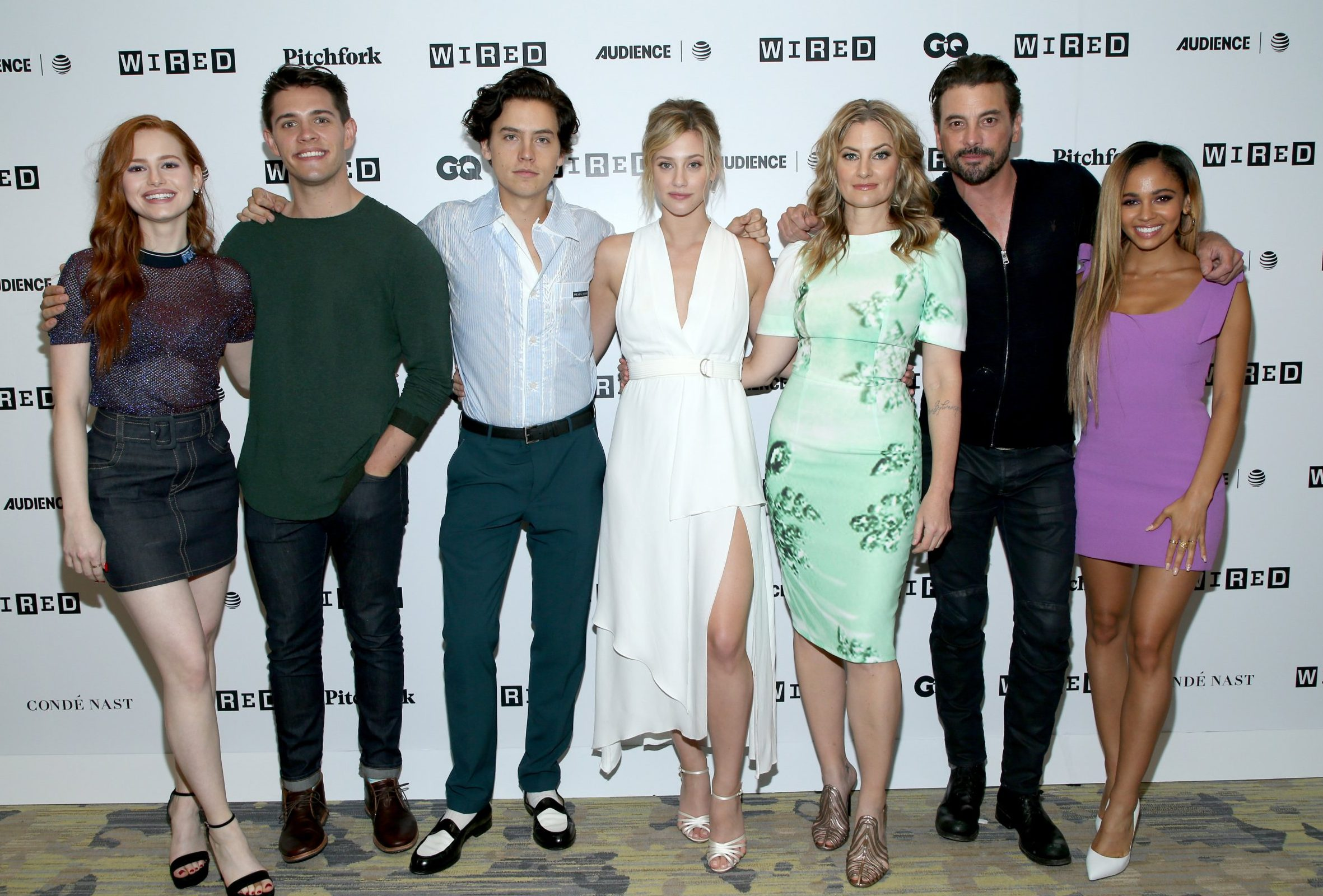 SAN DIEGO, CA - JULY 21: (L-R) Madelaine Petsch, Casey Cott, Cole Sprouse, Lili Reinhart, Madchen Amick, Skeet Ulrich, and Vanessa Morgan of 'Riverdale' attends the 2018 WIRED Cafe at Comic Con presented by AT&T Audience Network at Omni Hotel on July 21, 2018 in San Diego, California. (Photo by Phillip Faraone/Getty Images for WIRED)