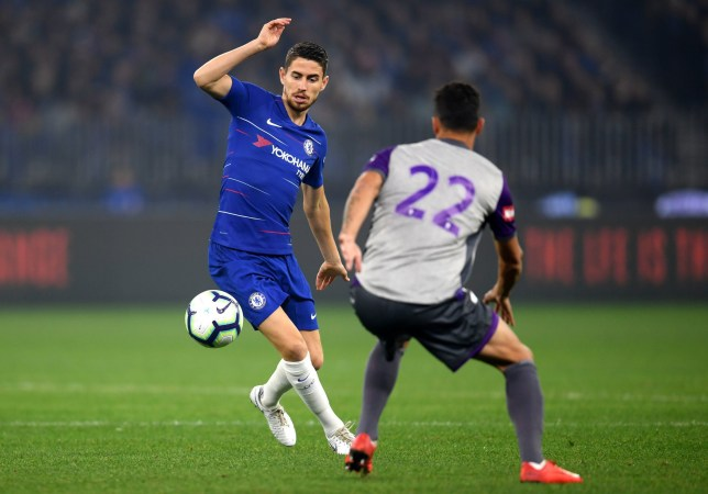 PERTH, AUSTRALIA - JULY 23: Jorginho of Chelsea in action during the international friendly between Chelsea FC and Perth Glory at Optus Stadium on July 23, 2018 in Perth, Australia. (Photo by Darren Walsh/Chelsea FC via Getty Images)