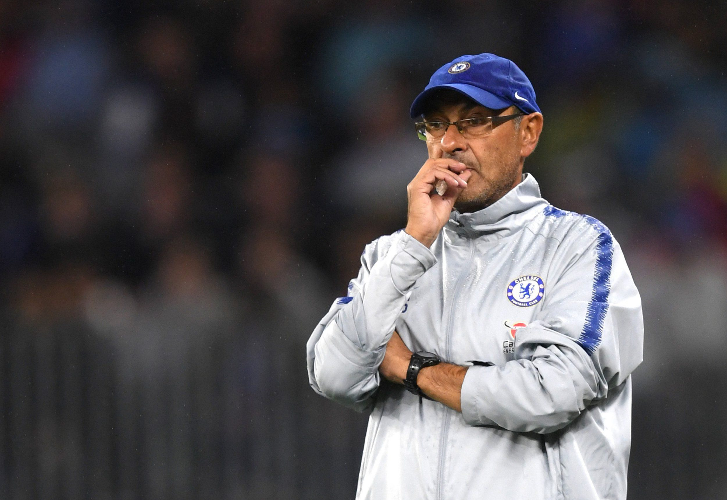 PERTH, AUSTRALIA - JULY 23: Maurizio Sarri, Manager of Chelsea looks on during the international friendly between Chelsea FC and Perth Glory at Optus Stadium on July 23, 2018 in Perth, Australia. (Photo by Darren Walsh/Chelsea FC via Getty Images)