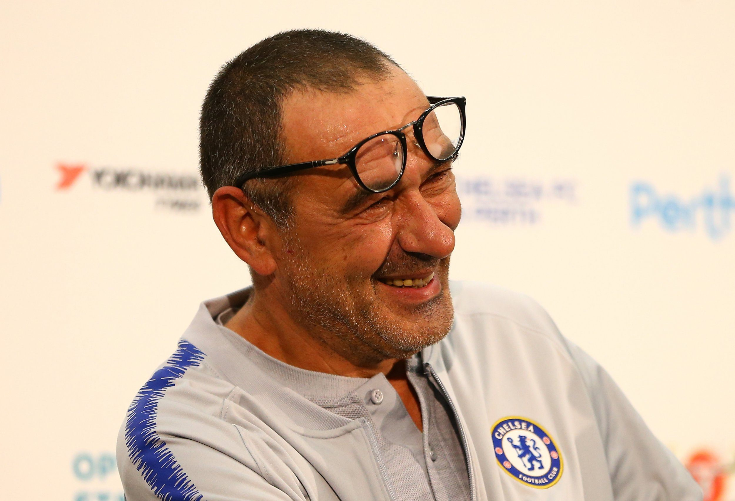 Mandatory Credit: Photo by Gary Day/Frozen in Motion/REX/Shutterstock (9762924am) Maurizio Sarri, Manager of Chelsea takes questions in the post match press conference Perth Glory v Chelsea, Pre-season Friendly, Football, Optus Stadium, Perth, Australia - 23 Jul 2018