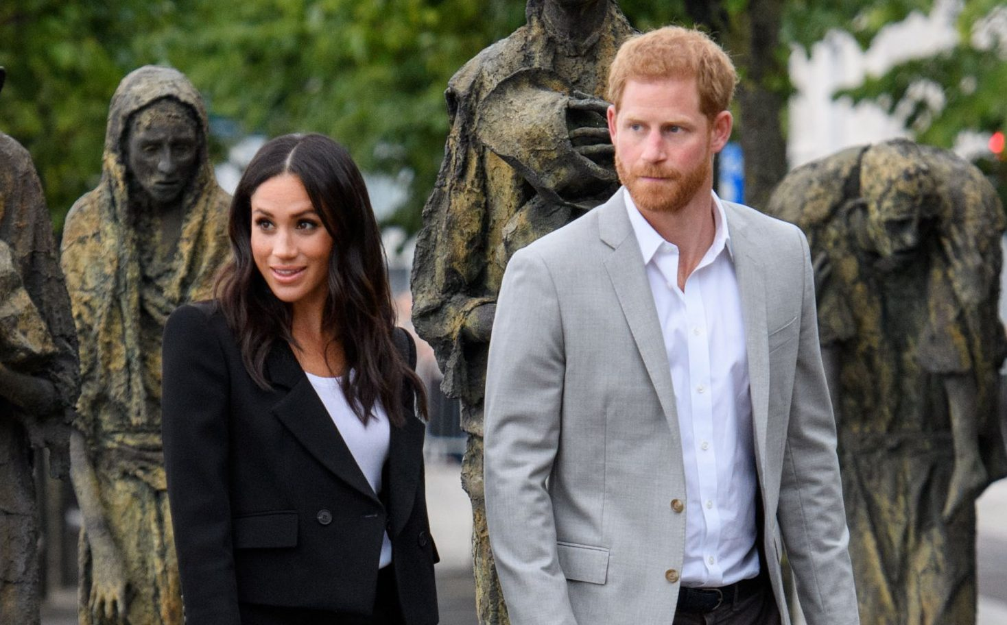 Mandatory Credit: Photo by Tim Rooke/REX/Shutterstock (9754621cs) Meghan Duchess of Sussex and Prince Harry visit the Famine Memorial Prince Harry and Meghan Duchess of Sussex visit to Dublin, Ireland - 11 Jul 2018