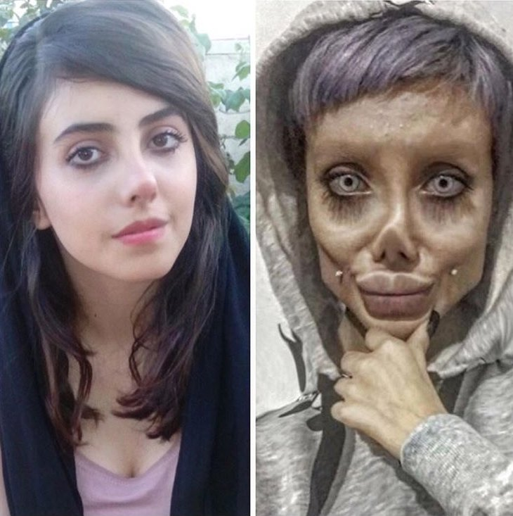 (Picture: Sahar Tabar/Instagram) An Iranian Angelina Jolie 'lookalike' who caused controversy with her dramatic transformation has shared side-by-side snaps for the first time to show what she really looks like. Sahar Tabar, now 20, from Tehran hit headlines last year when it was reported that she'd had 50 surgeries to make her look like a 'zombie' version of the the Oscar-winning actress. She later spoke out, admitting she'd had a nose job, lip fillers and liposuction but insisted most of her unusual appearance is down to make-up and editing. Recently she posted two-fresh faced snaps showing her looking dramatically different without her signature make-up.