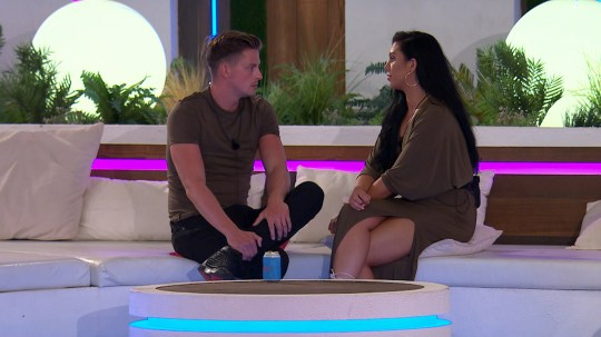 From ITV Studios Love Island: SR4: Ep51 on ITV2 Pictured: Alex and Alexandra chat. This photograph is (C) ITV Plc and can only be reproduced for editorial purposes directly in connection with the programme or event mentioned above, or ITV plc. Once made available by ITV plc Picture Desk, this photograph can be reproduced once only up until the transmission [TX] date and no reproduction fee will be charged. Any subsequent usage may incur a fee. This photograph must not be manipulated [excluding basic cropping] in a manner which alters the visual appearance of the person photographed deemed detrimental or inappropriate by ITV plc Picture Desk. This photograph must not be syndicated to any other company, publication or website, or permanently archived, without the express written permission of ITV Plc Picture Desk. Full Terms and conditions are available on the website www.itvpictures.co.uk For further information please contact: james.hilder@itv.com / 0207 157 3052