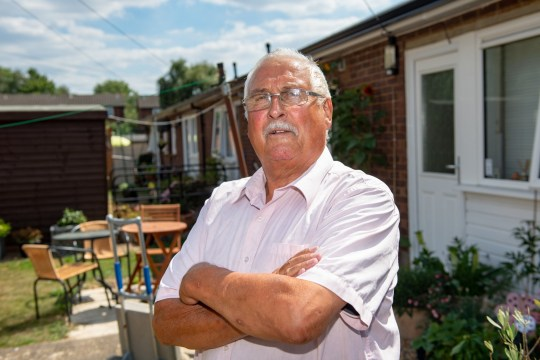 """EMBARGOED UNTIL 02.00 BST 25 July 2018 -Collin Mitchell age 75 at his home in London Colney St Albans. See Masons copy MNFART: An elderly man has branded a visit by cops over """"offensive noises"""" made by his great-grandson's farting toy an """"absolute waste of police time"""".The 75-year-old, who didn't want to be named, was left dumbstruck when an officer knocked on his door at around 3pm on Sunday, July 15.The constable was enquiring about reports by a neighbour of """"offensive human noises"""" coming from the house in St Albans, Herts.."""