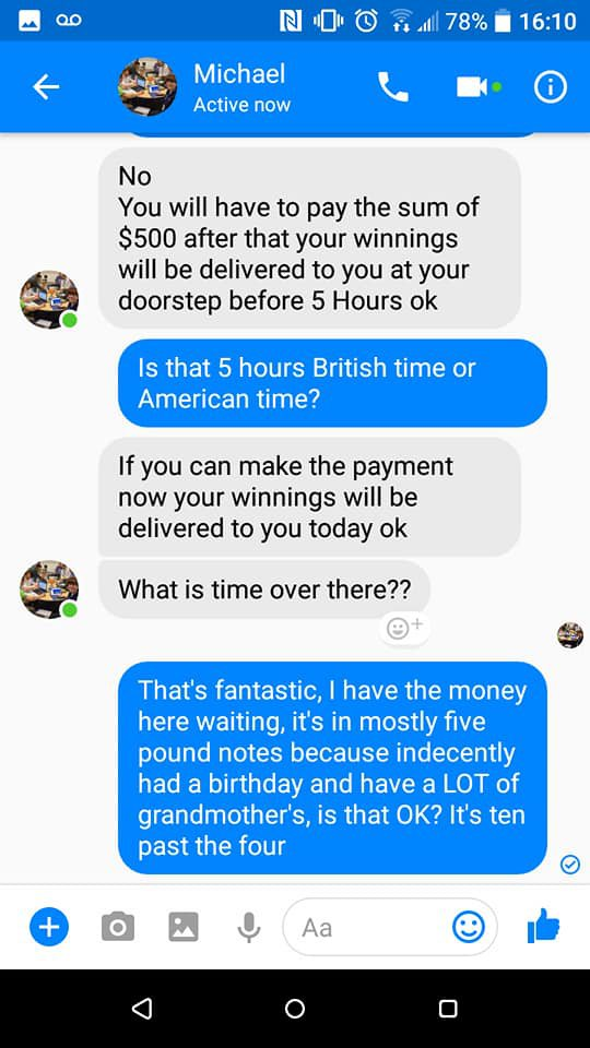 Man spends two hours hilariously trolling Facebook scammer