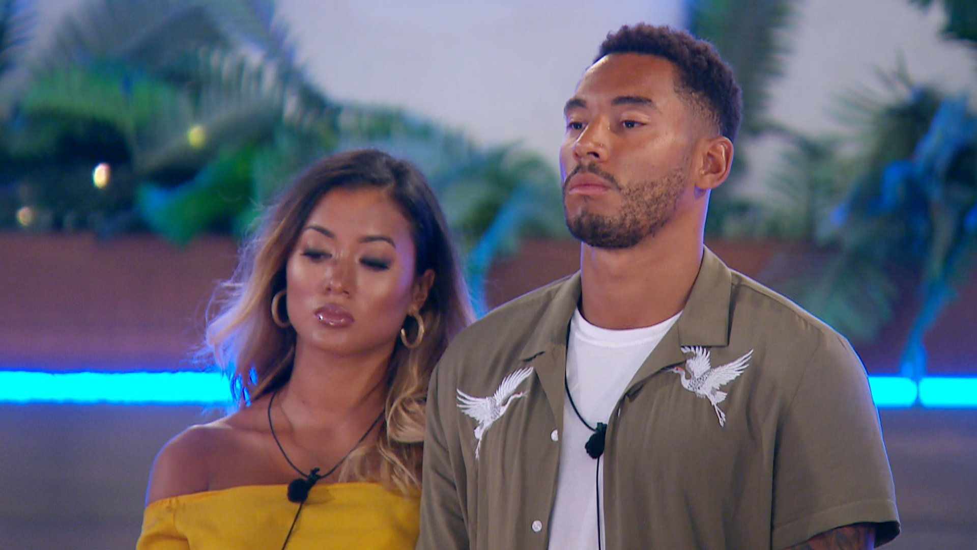 This image is strictly embargoed until 22.00 Wednesday 25th July 2018 From ITV Studios Love Island: SR4: Ep52 on ITV2 Pictured: Josh and Kaz wait to hear their fate. This photograph is (C) ITV Plc and can only be reproduced for editorial purposes directly in connection with the programme or event mentioned above, or ITV plc. Once made available by ITV plc Picture Desk, this photograph can be reproduced once only up until the transmission [TX] date and no reproduction fee will be charged. Any subsequent usage may incur a fee. This photograph must not be manipulated [excluding basic cropping] in a manner which alters the visual appearance of the person photographed deemed detrimental or inappropriate by ITV plc Picture Desk. This photograph must not be syndicated to any other company, publication or website, or permanently archived, without the express written permission of ITV Plc Picture Desk. Full Terms and conditions are available on the website www.itvpictures.co.uk For further information please contact: james.hilder@itv.com / 0207 157 3052