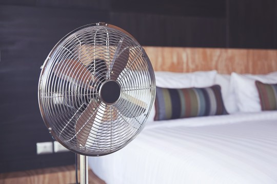 Bed room and metal fan.; Shutterstock ID 329967176; Purchase Order: -