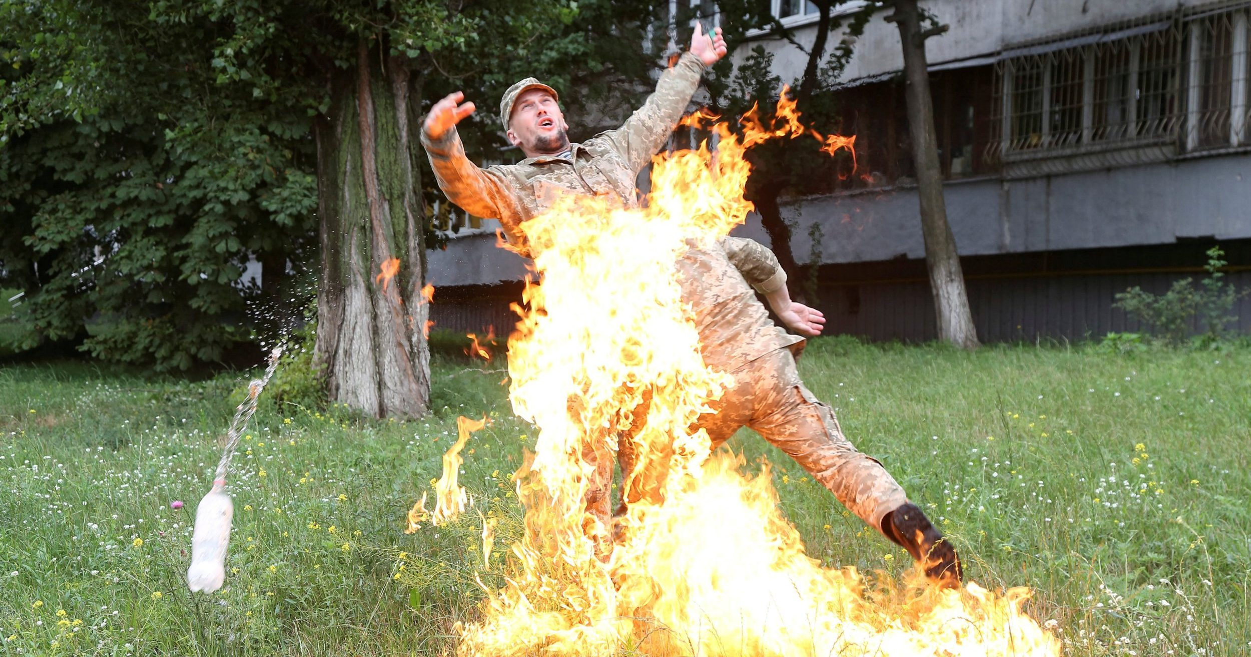 Soldier set himself on fire after being sacked from army