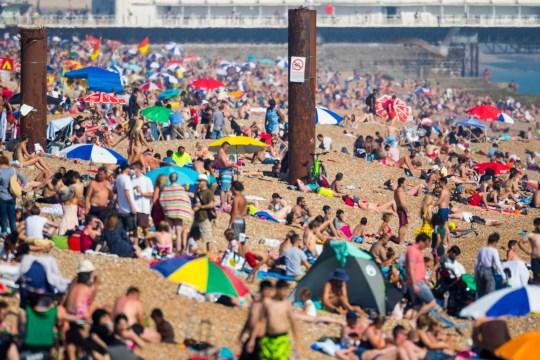 Thousands of beachgoers brave the relentless hot sunshine on Brighton beach. Brighton, July 26 2018.