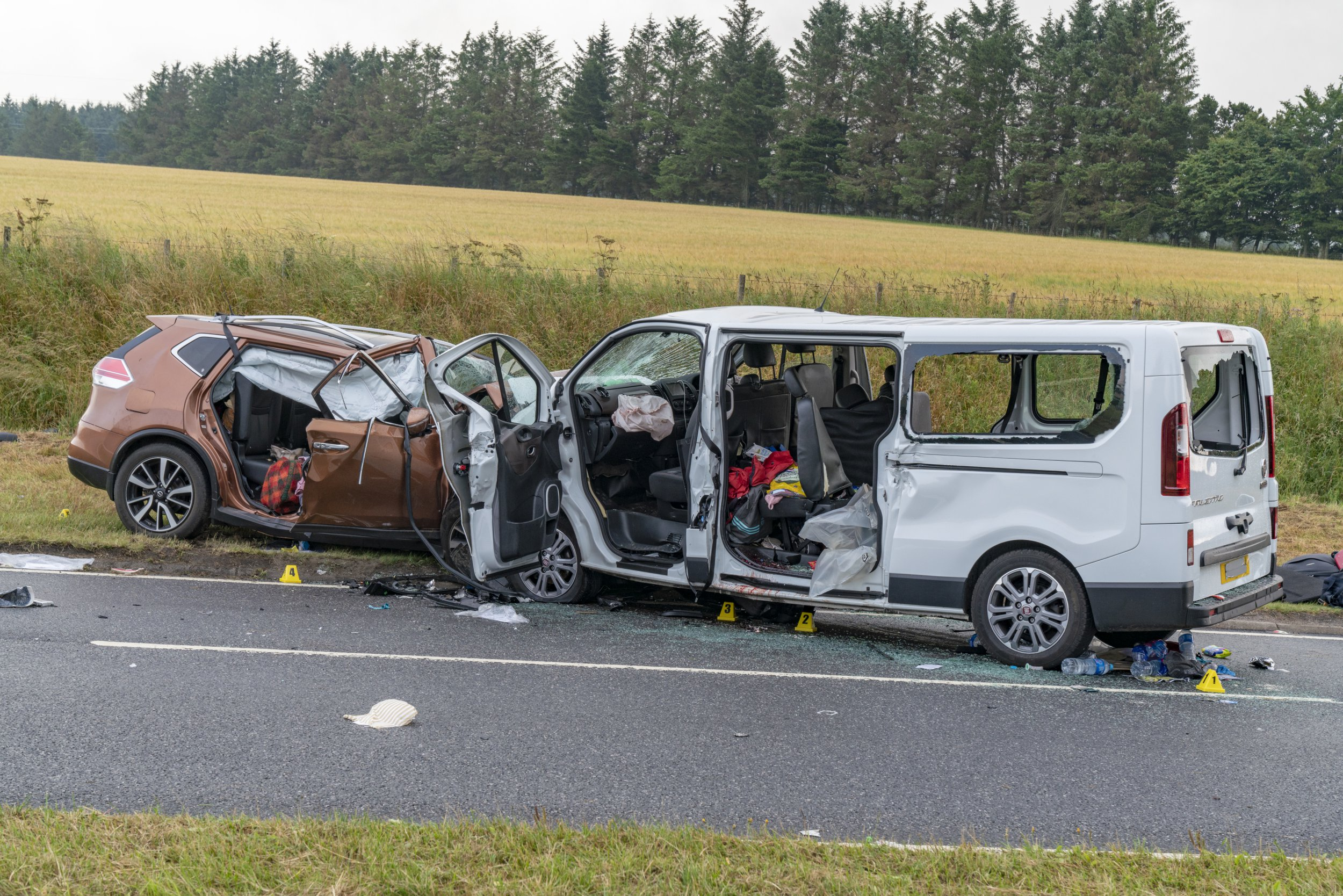 """PIX RE - Police Scotland can confirm that as a result of a serious road traffic collision on the A96 last night between Huntly and Keith (Thursday July 26, 2018) involving two vehicles, five people have sadly died. Further details will be released when available. Five further people were also involved in the incident which involved a mini-bus and a 4x4 car, one with potentially life-threatening injuries. A section of the A96 has been closed with local diversions in place - for the diversion northbound at Huntly take the A920 to Dufftown then onto A941 to the A95 at Craigllachie and follow to Keith for the A96. Reverse for southbound. Road Policing Sergeant Peter Henderson said: """"Motorists are thanked for their patience at this time and we would urge anyone who was in the area last night leading up to the incident at around 11.50pm to please get in touch as our enquiries at the scene continue. Please quote ref. no. 5002 of July 26. """"Our thoughts are with all those affected by this tragic incident at this very sad time."""" PHOTOGRAPHED BY BRIAN SMITH T/A JASPERIMAGE"""