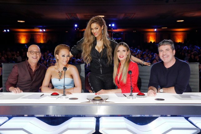 """AMERICA'S GOT TALENT -- """"Auditions 4"""" Episode 1304 -- Pictured: (l-r) Howie Mandel, Mel B, Tyra Banks, Heidi Klum, Simon Cowell -- (Photo by: Trae Patton/NBC/NBCU Photo Bank via Getty Images)"""