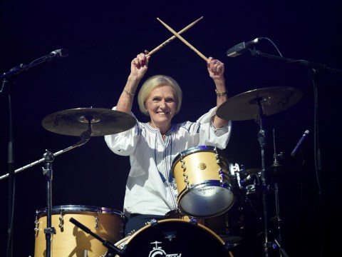 Mary Berry unleashes her inner rockstar as she becomes Rick Astley's drummer and we're obsessed