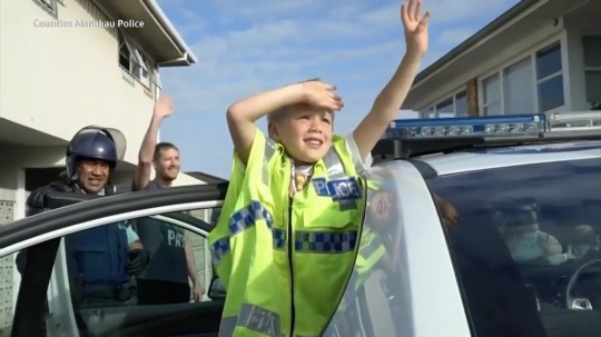 5 year old keeps calling the police to invite them to his birthday, then they pay him a surprise visit. New Zealand. Picture: Counties Manukau Police METROGRAB