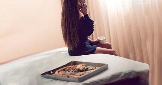 Sensual Female Talk on Phone, Drink Coffee and Eat Pizza in her Bedroom