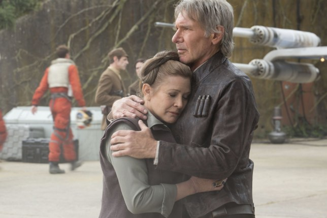 No Merchandising. Editorial Use Only. No Book Cover Usage. Mandatory Credit: Photo by Lucasfilm/Bad Robot/Walt Disney Studios/Kobal/REX/Shutterstock (5886293er) Carrie Fisher, Harrison Ford Star Wars - The Force Awakens - 2015 Director: J.J. Abrams Lucasfilm/Bad Robot/Walt Disney Studios USA Scene Still Fantasy Star Wars: ?pisode VII - Le r?veil de la Force