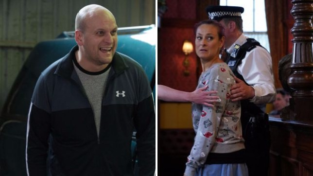 Stuart and Tina in EastEnders, Tina is arrested