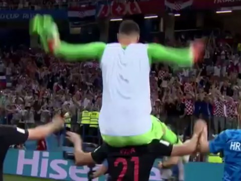 Croatia star Danijel Subasic almost dropped on his head after heroics in penalty shootout