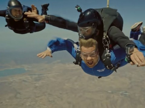 Tom Cruise goes full Mission Impossible as he takes a terrified James Corden skydiving at 15,000 feet