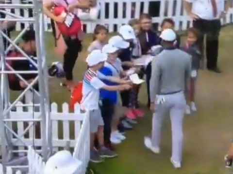 Tiger Woods cruelly pushes away children waiting for autographs at The Open