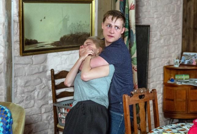 Lachlan attacks Belle in Emmerdale