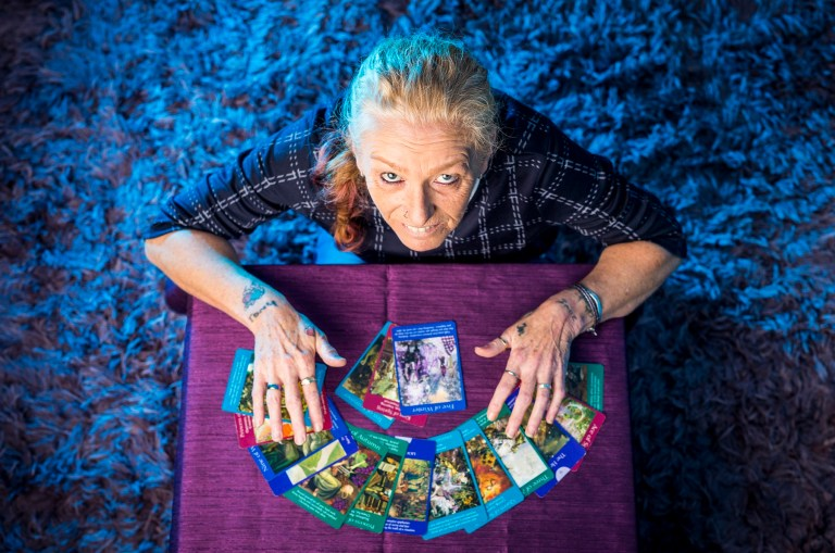 ©Andrew McCaren. 12/09/2018 Doncaster UK. Fortune Teller/ Tarot Reader Evie Lochrie Photographed at home in Doncaster. Photo Credit: Andrew McCaren For The Metro.