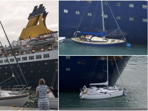 Cruise ship crashes into luxury yachts while turning in harbour