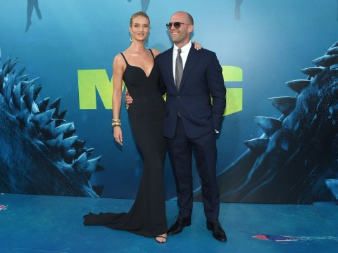 Rosie Huntington-Whiteley is on fire as she supports Jason Statham at The Meg premiere