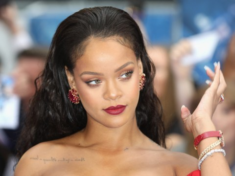 Rihanna isn't about catching the wedding bouquet as she expert dodges flying flowers at bestie's wedding