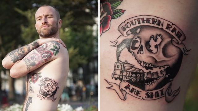 Fed up commuter gets 'Southern Rail are sh*t' tattooed on his body
