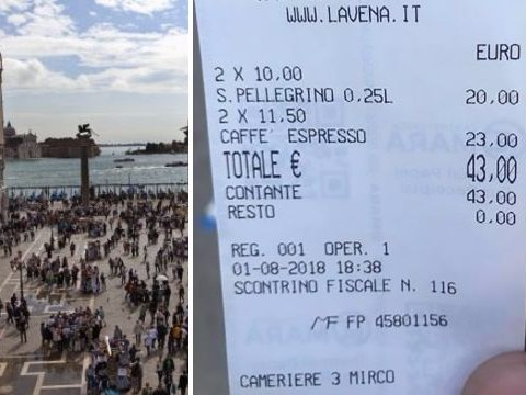 Venice cafe charges tourist £38 for two coffees and two waters